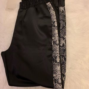 Zara silk jogger with snake skin print on the side